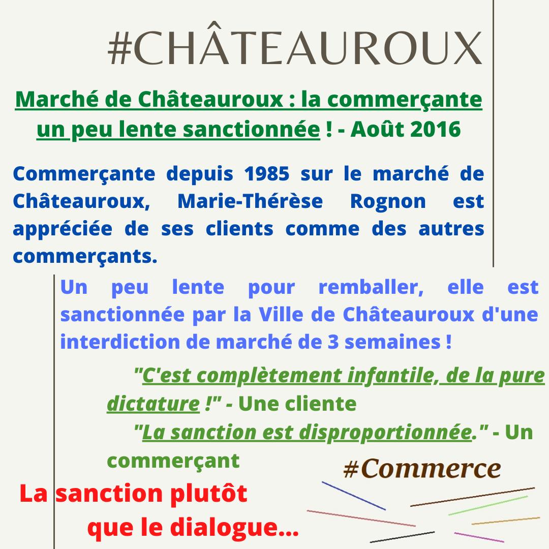 Sanctionner une commerçante présente sur le marché de Châteauroux depuis 31 ans parce-qu'elle était un peu lente : une honte !