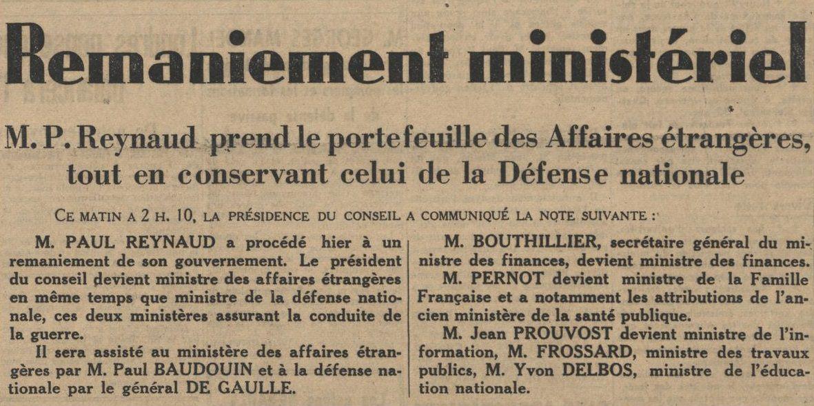Une du quotidien Le Journal du 7 juin 1940