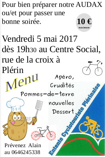 "Rappel ""Patate Party"" du vendredi 5 mai."
