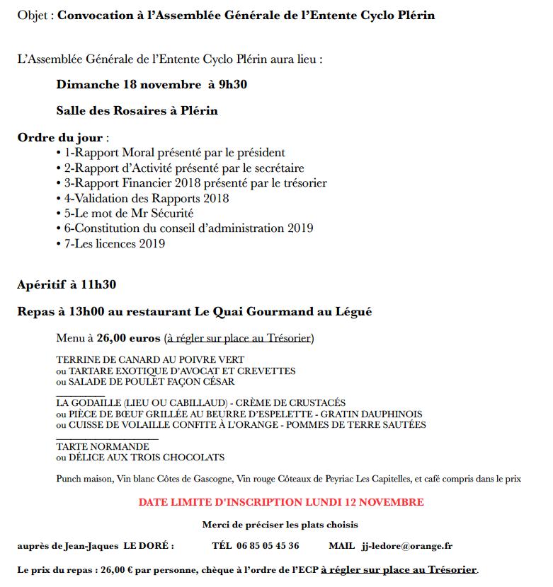 ASSEMBLÉE GÉNÉRALE - Dimanche 18 novembre.