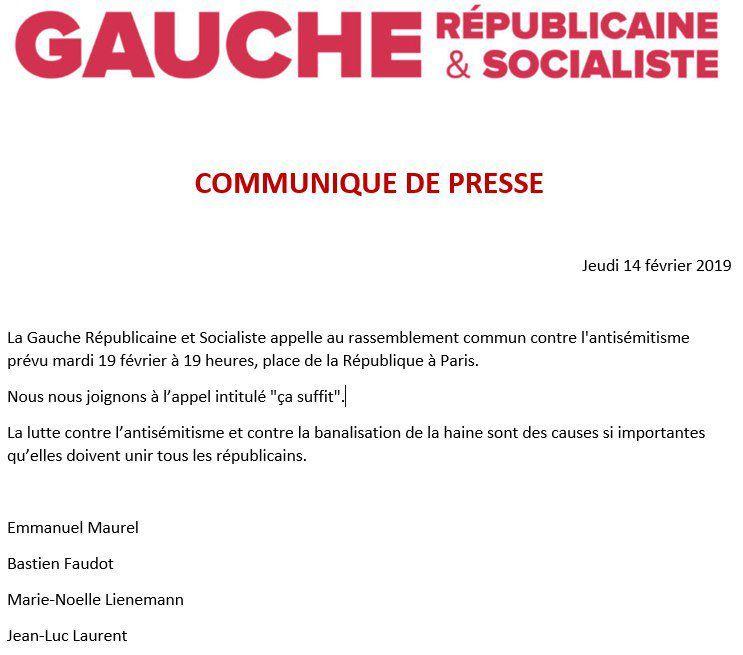 Communiqué de presse de la Gauche Républicaine & Socialiste le 14 février 2019