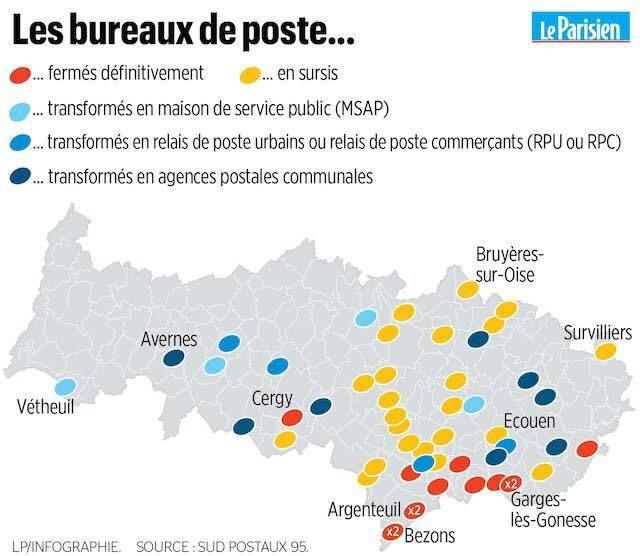 bureaux de poste fermés ou transformés en point contact dans le Val-d'Oise