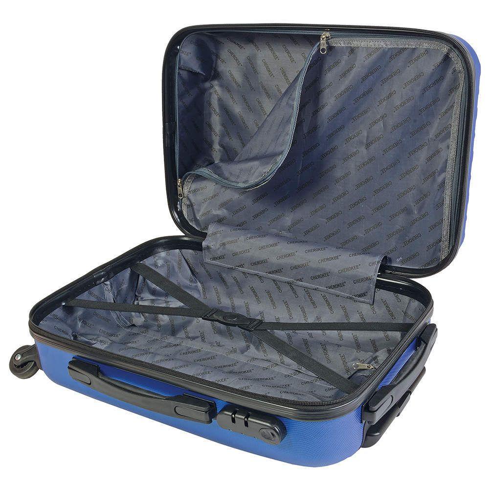 Valise de cabine bleue avec 4 roulettes et poignée rétractable fabriquée en ABS - Ref : SV17144 OUVERTE