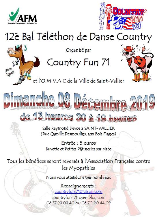 Bal Téléthon Country le 08/12/2019 à Saint Vallier (71230)