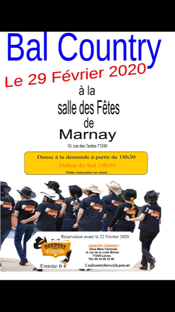 Bal Country Forever le 29 Février 2020 à Marnay