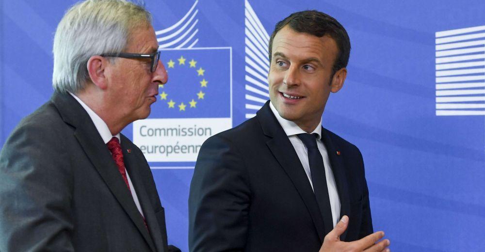 Emmanuel Macron et Jean-Claude Juncker (président de droite de la commission européenne) : les deux faces de la même pièce de la droite libérale et conservatrice qui domine l'Union européenne