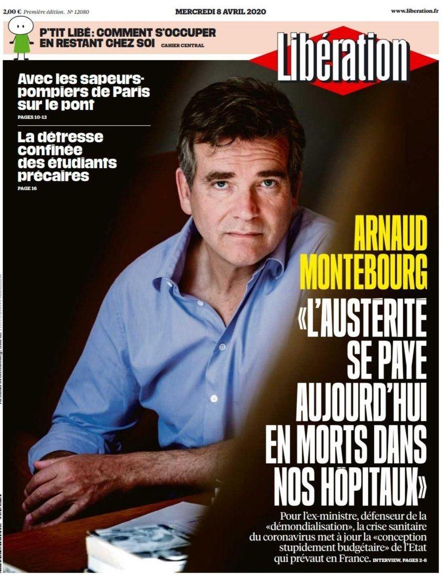 Arnaud Montebourg en couverture de Libération du mercredi 8 avril 2020
