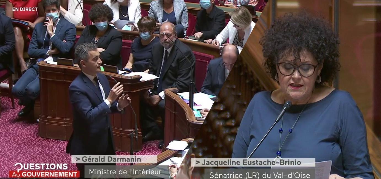 Gérald Darmanin, ministre de l'intérieur, et Jacqueline Eustache-Brinio, sénatrice réactionnaire du Val-d'Oise, jouent au chat et à la souris : la République, la laïcité et les Français.e.s grands perdants