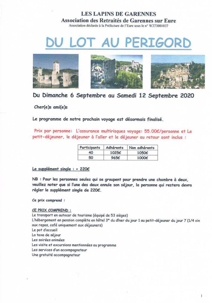 Voyage du Lot au Périgord du 6 septembre au 12 septembre 2020