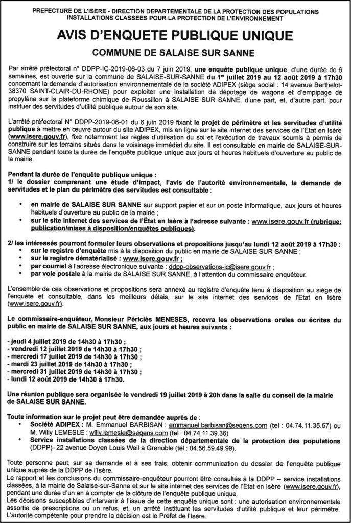 Avis d'enquête publique concernant la Société Adipex - Commune de Salaise-sur-Sanne (Isère)