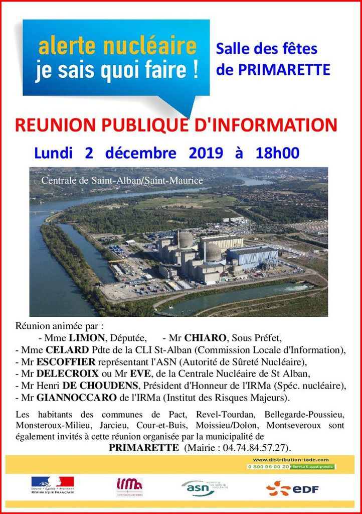 Alerte nucléaire, je sais quoi faire ! Réunion publique d'information à Primarette (Isère)