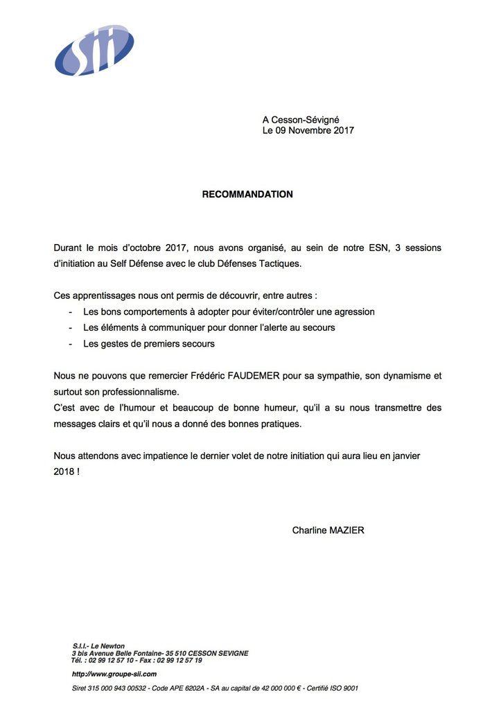 lettre de recommandation pour le club Défenses Tactiques