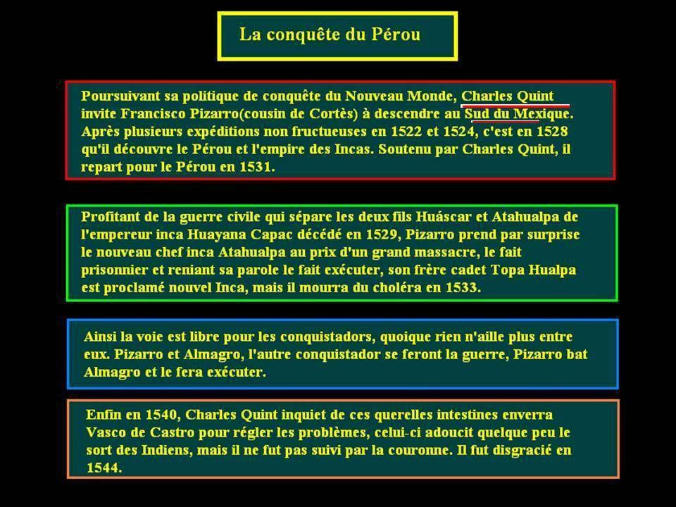 La conquête du Chili et du Pérou