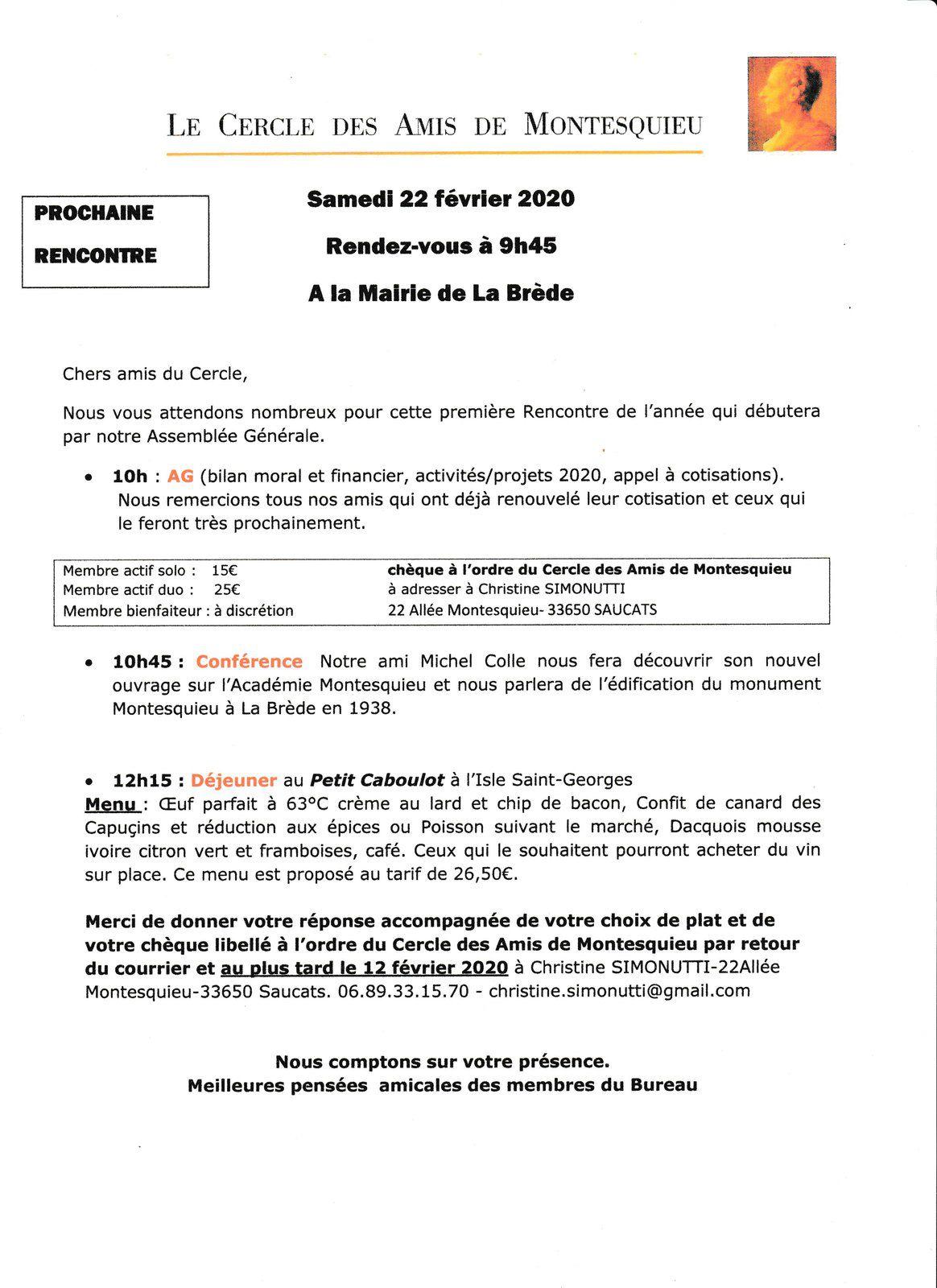 Assemblée Générale : Samedi 22 février 2020