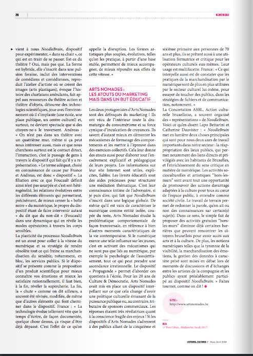 NoodleBrain dans le magazine Lectures & Cultures de la FWB
