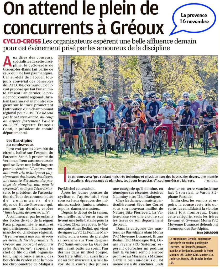 Revue de presse cyclo cross 2019