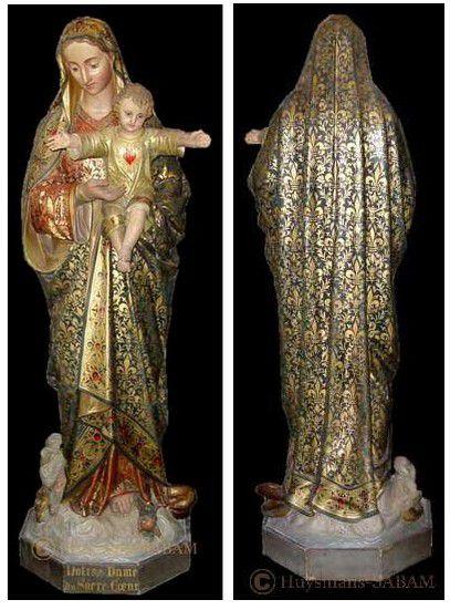Restauration d'une sculpture de Madone en plâtre polychrome fortement abîmée - Repliqua 3D, sculpteur, mouleur, artisan d'art, restaurateur d'oeuvres d'art