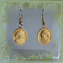 bijou en bois boucles d'oreille-sculpture George Sand en buis - Art'n Wood-Repliqua3D