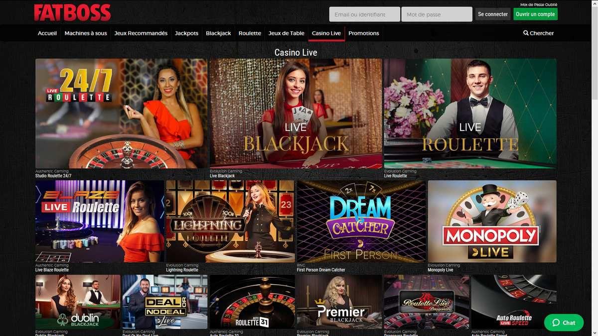 casino en ligne live FatBoss Casino