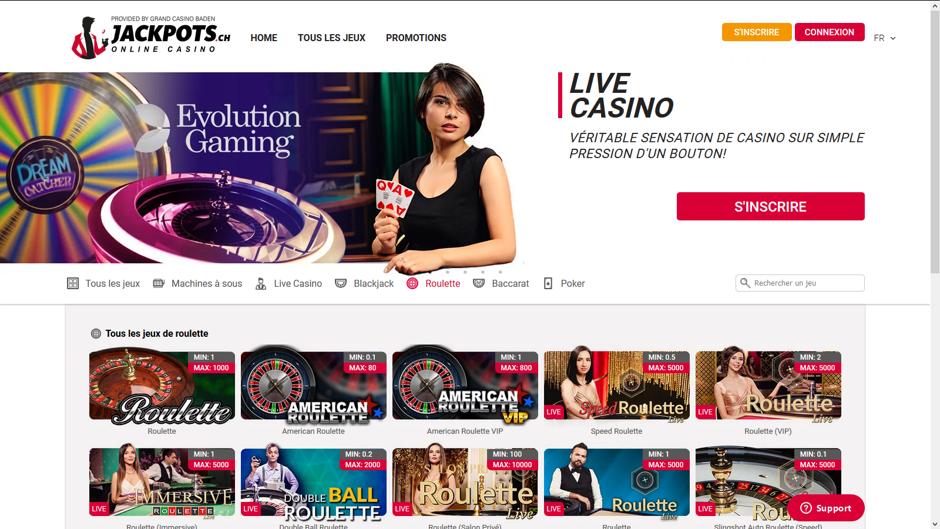 Jackpots : casino en ligne live légal en Suisse