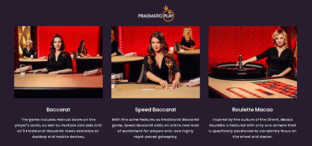 Baccarat, Speed Baccarat et Roulette Macao : nouveaux jeux de casino en ligne live Pragmatic Play