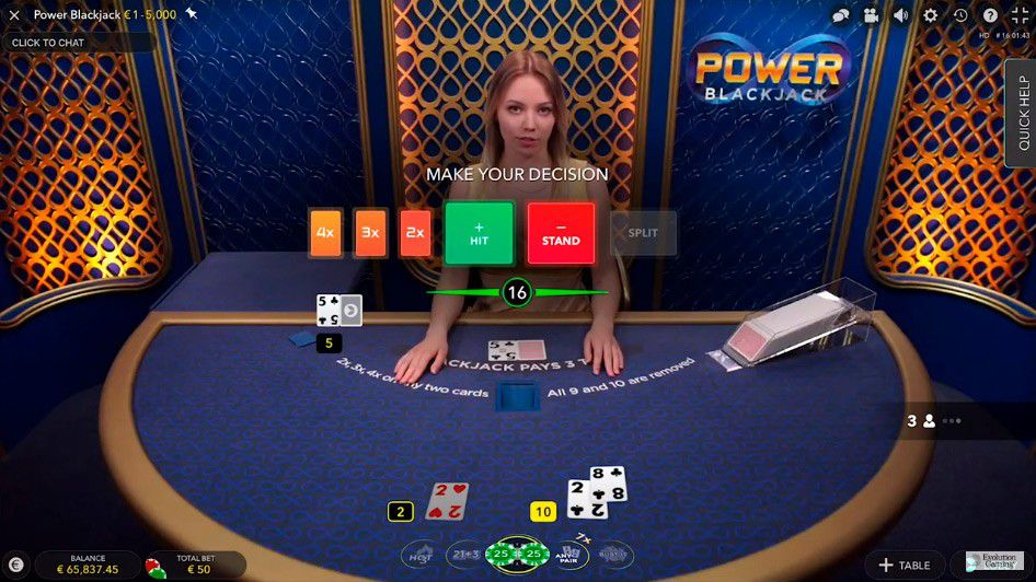 jeu de black jack live Power Blackjack - table de jeu