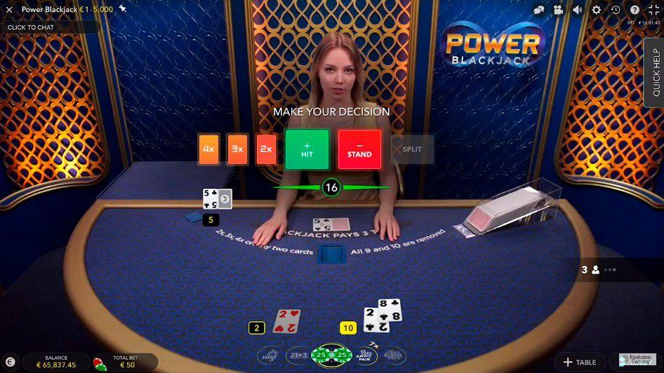 jeu de black jack live Power Blackjack - table de jeu