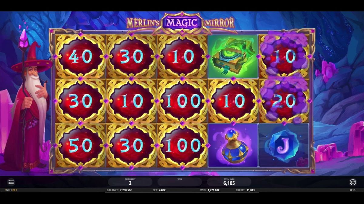 machine a sous Merlin's Magic Mirror jeu bonus tours gratuits