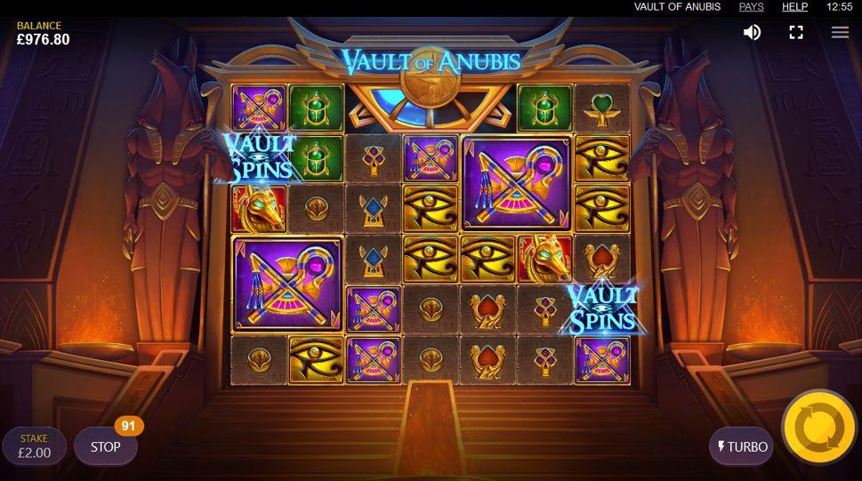 machine a sous en ligne Vault of Anubis grille de jeu