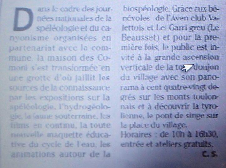 """TEXTE DE """"VAR MATIN"""" EXCUSEZ LA MAUVAISE QUALITE...ON PARLE DE NOUS!"""