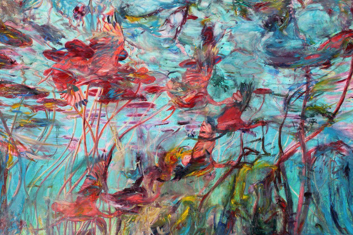 Les ibis rouges aux nymphéas. Huile sur toile. 130,5 X 195 cm. 2010-2017