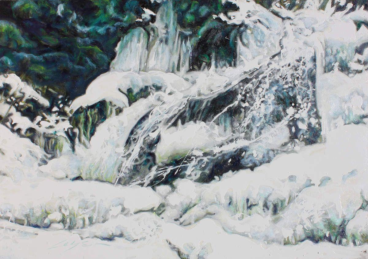 Le ruisseau sous la neige 2. 65X92cm. Huile sur toile. Annee 2010