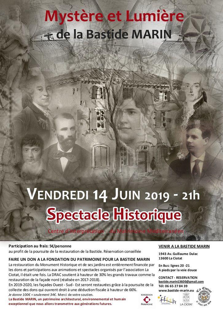 14 juin/21h - Spectacle Historique Mystère et Lumière de la Bastide MARIN