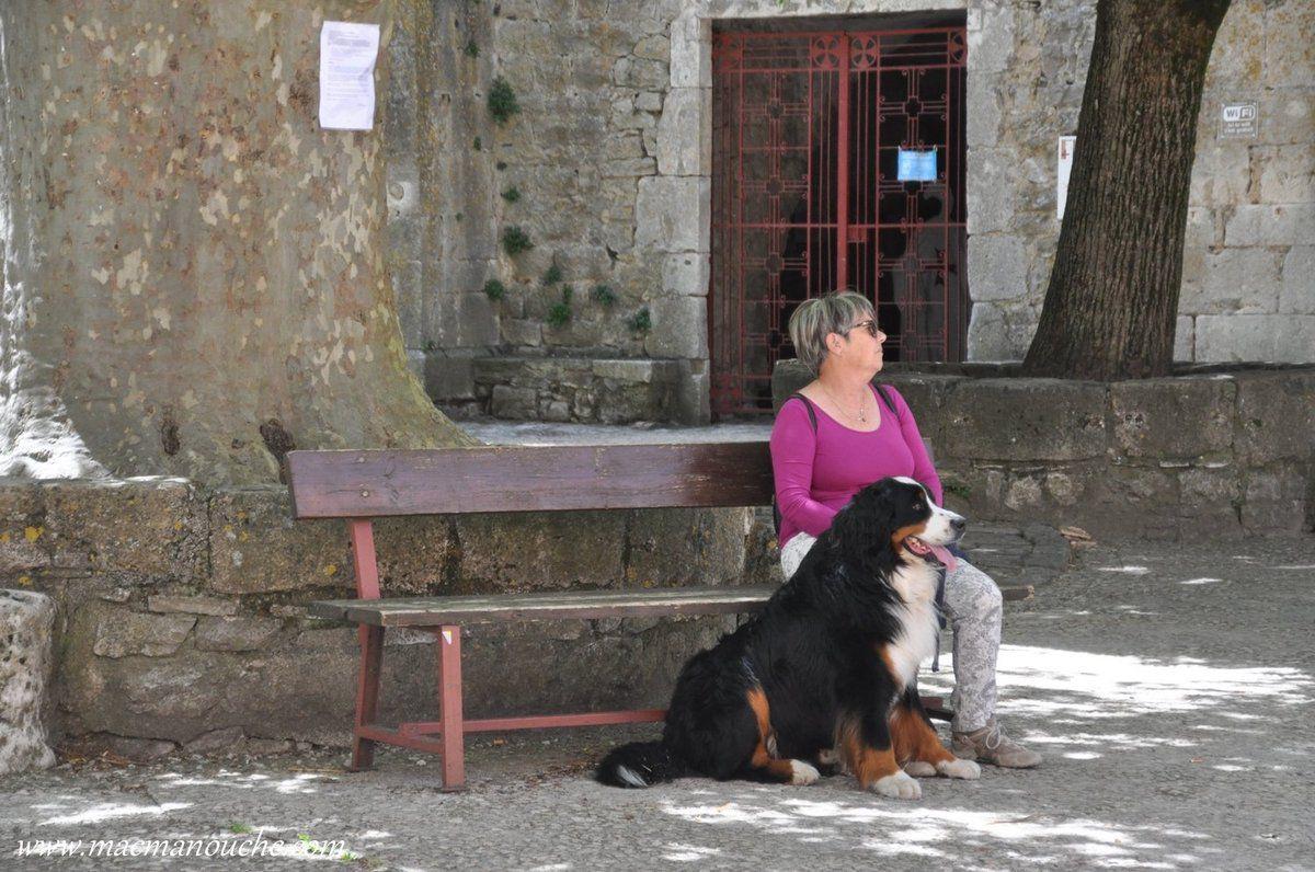 Nous voici arrivés sur la place de l'église et MimiManouche et Jaïka se reposent car il fait très chaud!
