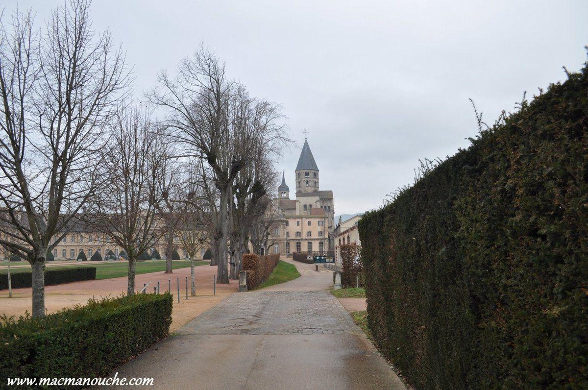Depuis le portail (fermé) de l'entrée de l'allée, on aperçoit l'abbaye.
