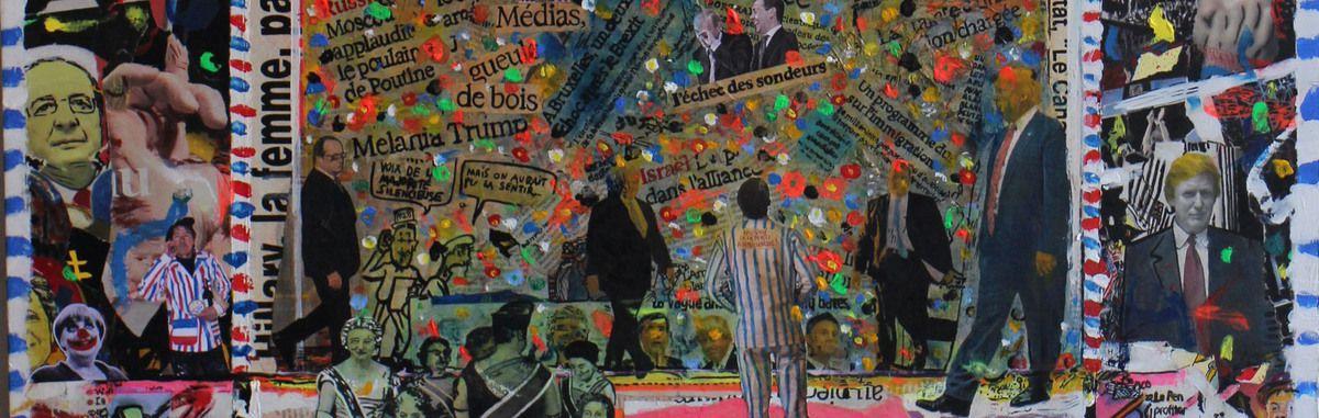 Bernard-Alex Le Moullec Détail (Collage en cour - 100X70 - techniques mixtes sur bois). Titre : Une journée dans la presse  française