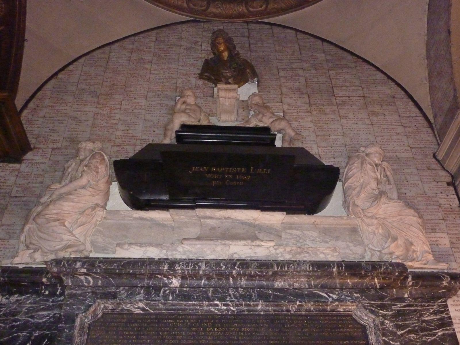 Lulli, compositeur à la cour de Louis XIV fut inhumé dans l'église Notre-Dame des Victoires