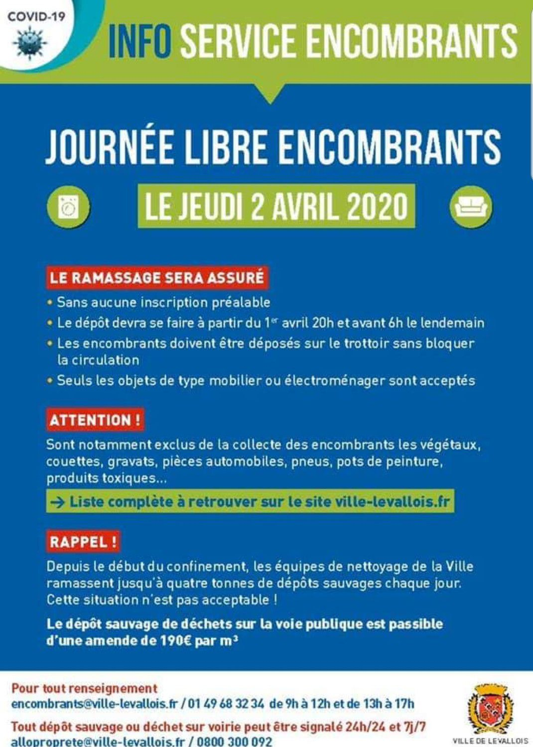 Journée encombrants le 2 avril 2020