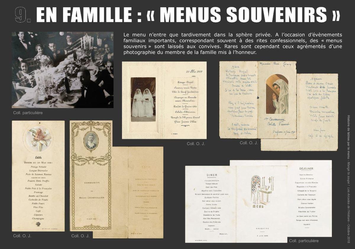 HISTOIRE DE TABLES PAR LE MENU