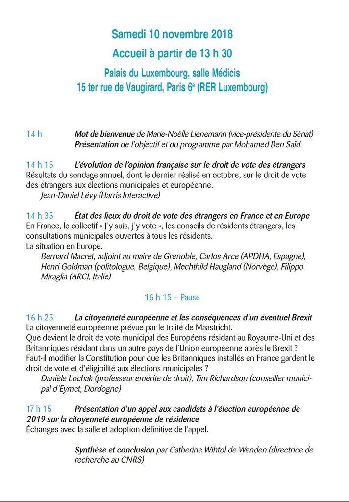 Samedi 10 novembre 2018 Palais du Luxembourg Paris 6°