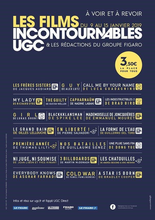 LES INCONTOURNABLES UGC - 9 au 16 janvier 2019