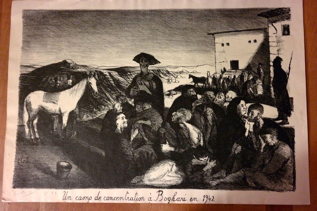 Le camp de Boghari, gravure de René-Jean Clot