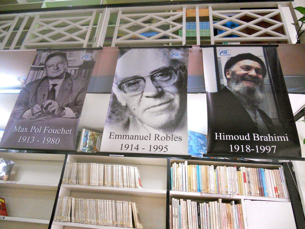Intérieur de la bibliothèque : Trois grandes figures Max-Pol Fouchet, Emmanuel Roblès, Himoud Brahimi.(Photo JPB, juin 2013)