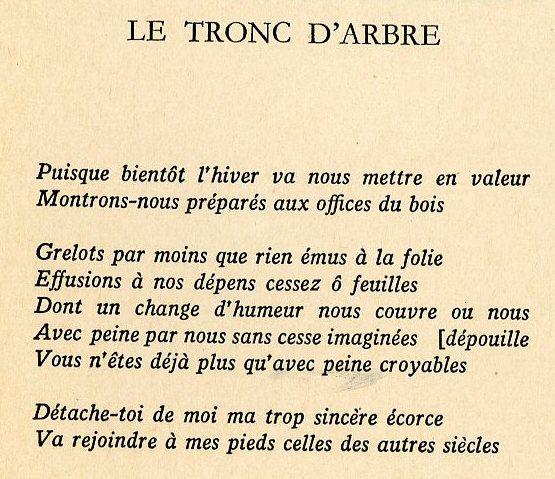 Le tronc d'arbre (Poème de Francis Ponge)