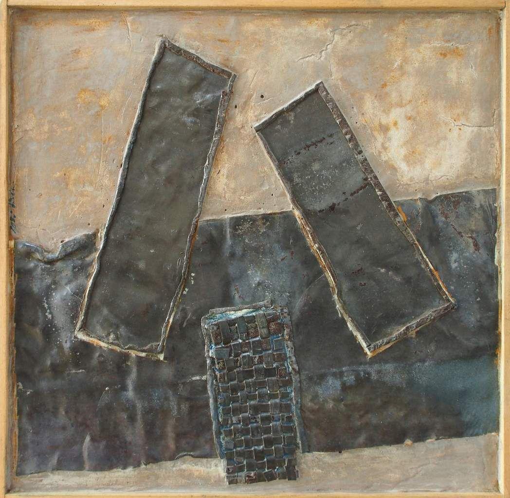 Ancrage, 2016, 50 x 50 cm, plomb, colle, pigments.