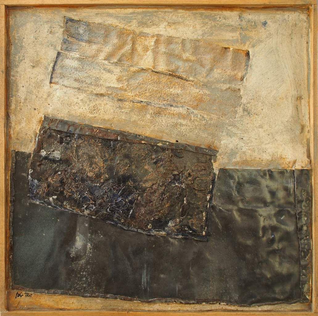Ancrage, 2017 50 x 50 cm. Plomb, colle, pigments.