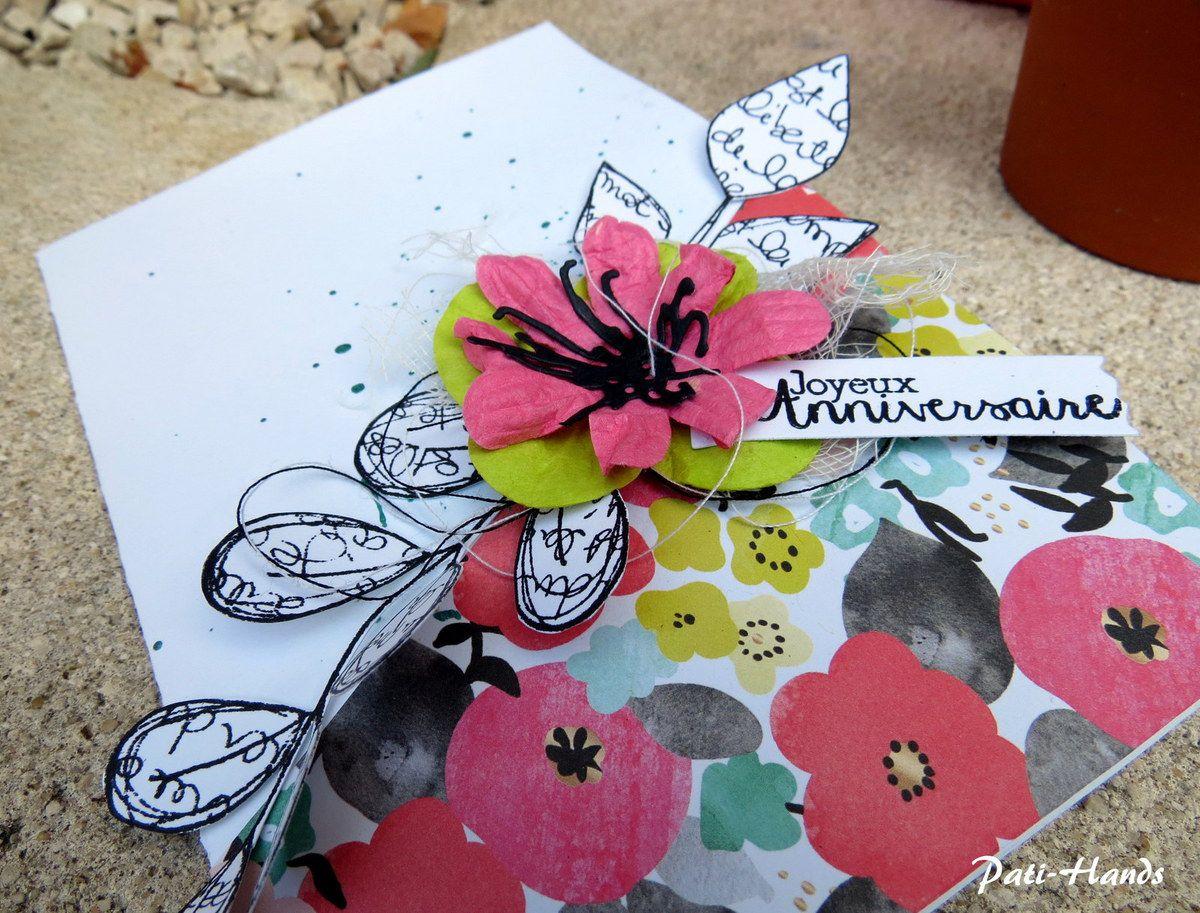 Cœur de la fleur, étiquette et tampon texte 4enscrap