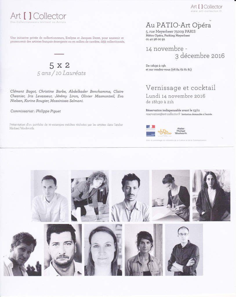"""Paris 9e, au Patio Opéra, commissariat de l'exposition """"art []collector 5 x 2 - 5 ans/10 lauréats """", vernissage lundi 14 novembre 2016, à 18h30..."""