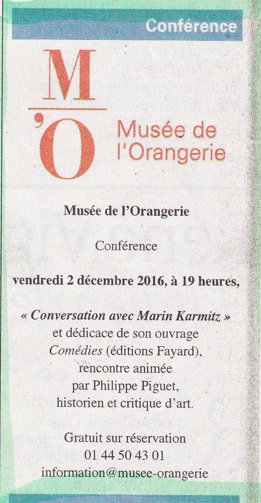 """INSCRIVEZ-VOUS !!! """"Conversation avec... Marin Karmitz"""", Paris, Musée de l'Orangerie, vendredi 2 décembre 2016, à 19h..."""