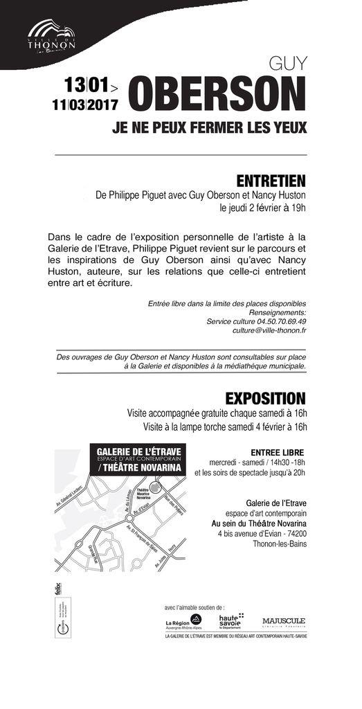 Thonon-les-Bains(74), Galerie de l'Etrave, ce jeudi 2 février à 19h, entretien avec Guy Oberson dans le cadre de son exposition....